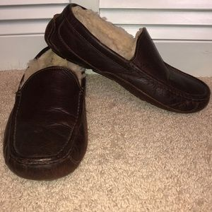 UGG Ascot Men's Brown Leather Slippers